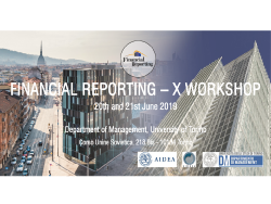Tenth Workshop Financial Reporting